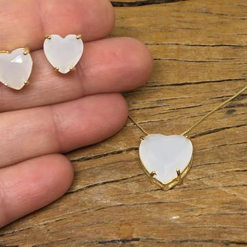 Conjunto Coração Cristal Branco Vela - Semijoia