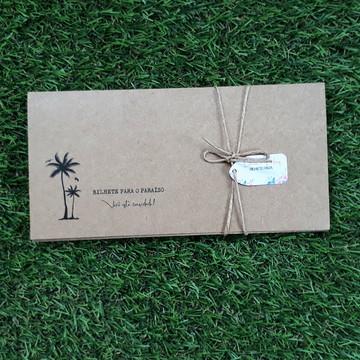 Convite Casamento com Envelope - Bilhete de Embarque