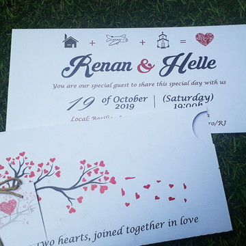 Convite Casamento com Envelope Arvore Coração Sisal