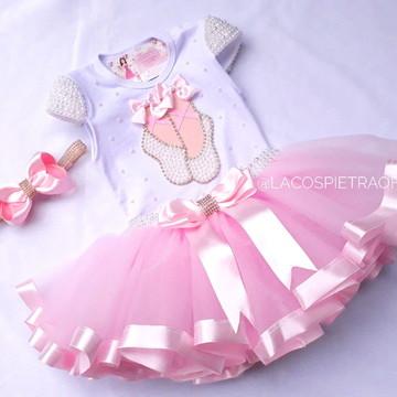 7cce3c2485 Saia Tutu Tule Rosa Tema Bale Bailarina Lembrancinha