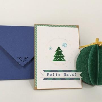 Cartão de Natal azul e verde