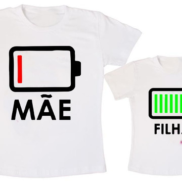Camiseta Tal Mãe Tal Filha Carregando Bateria