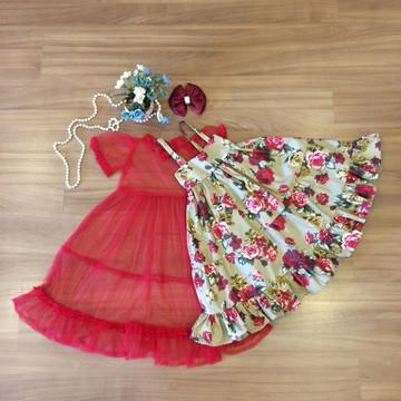 Vestido Floral Para Natal-Vestido Infantil
