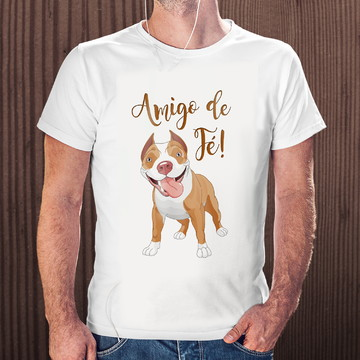 Camiseta Pet Personalizada Pitbull Amigo De Fé Blusas Pet