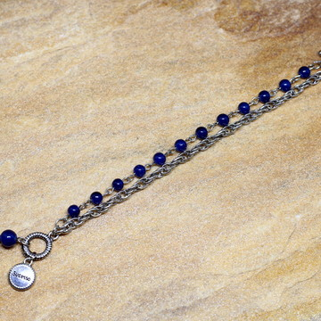 Pulseira azul prateada de porcelana pulseirismo bijuterias