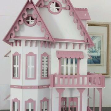 Casa de boneca em Mdf com móveis pintados