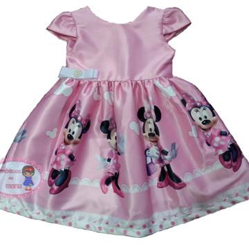 Vestido de Festa Minnie Rosa tam 1 ao 10