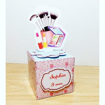 Caixa Cubo com Aplique 3D tema Maquiagem