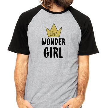 Camiseta Raglan Wonder Girl Coroa Camiseta Wonder