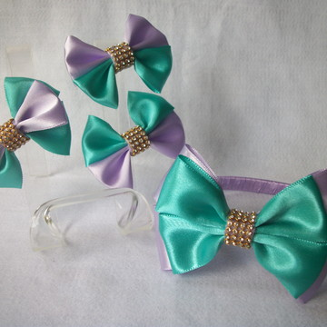Tiara + Laços. Kit de acessórios -Festa Pequena Sereia Ariel