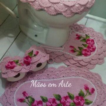 Jogo de Banheiro em crochê rendado rosa