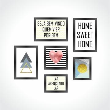 11164acb8 Conjunto 6 Quadros Decorativos Frase Home Sweet Home Minimal