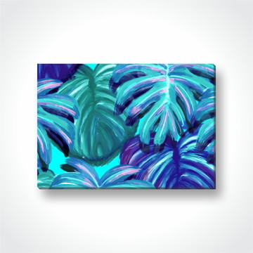 Quadro Decorativo Folhas verdes pintadas em Tecido Canvas