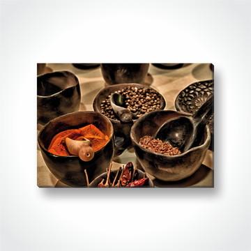 Quadro Decorativo Temperos cozinha em Tecido Canvas