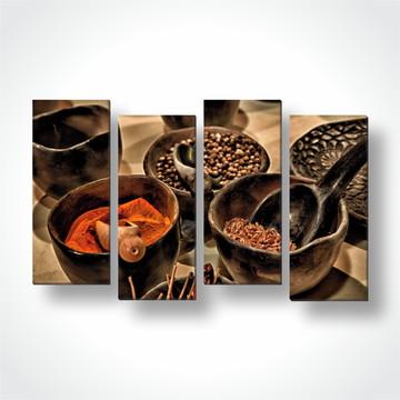 4 Quadros Mosaico Decorativo em Tecido Temperos cozinha