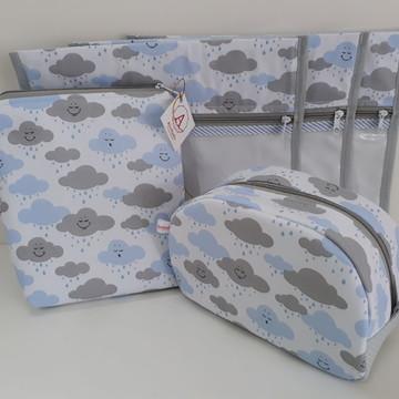 Kit Saquinho Maternidade Nuvem Cinza com Azul - 5 Peças