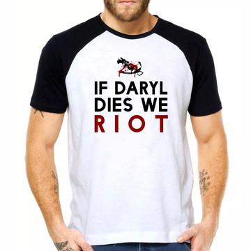 Camiseta Raglan Dies Riot Daryl Camiseta Unissex