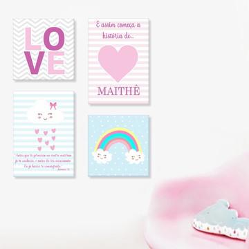 Decoração quarto Bebê nuvem love quadro com nome