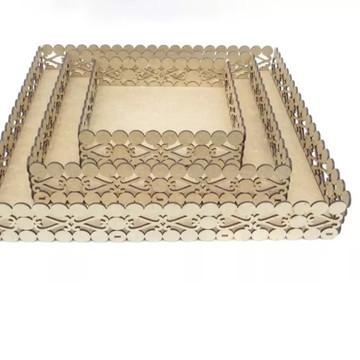 Trio bandejas quadradas PMG MDF cru corte a laser