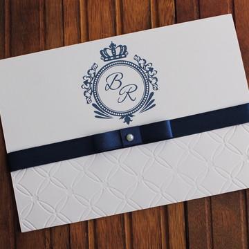 Convite Casamento Textura relevo - Convite 15 anos azul