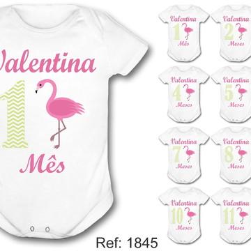 kit body mesversário flamingo com nome menina passaro rosa