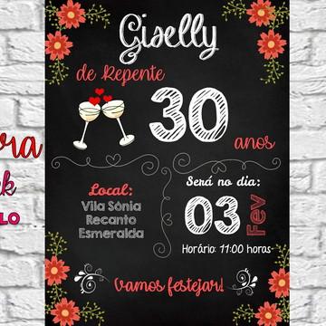 Convite digital 30 40 50 60 70 anos floral vermelho