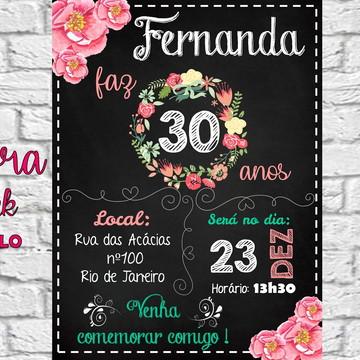convite digital floral 15 20 30 40 anos - círculo floral