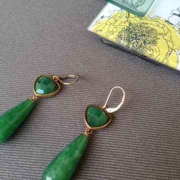 Brinco Dourado - Pedra Verde