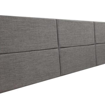 Cabeceira Estofada Queen Bloco Alce Couch Linho Cinza 160cm