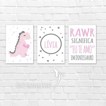 Placas Decorativas MDF Menina - nome dinossauro