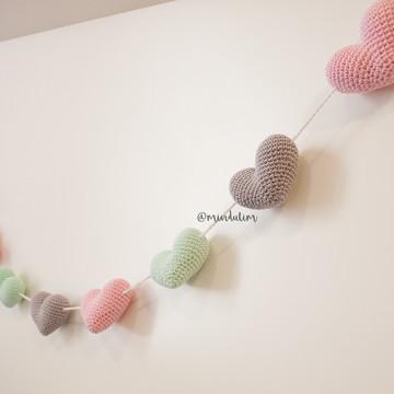 Cordão de corações   amigurumi   crochê