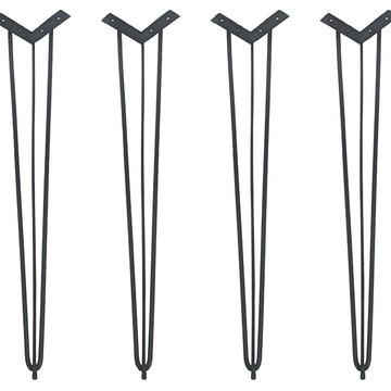 4 Hairpin Legs Pretos de 74cm com pés de borracha