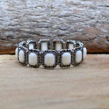 Pulseira prateada marfim bracelete pulseirismo bijuterias