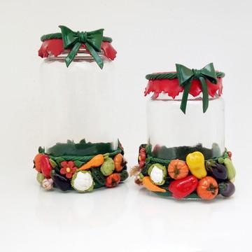 Kit Potes Decorados com Legumes em Biscuit