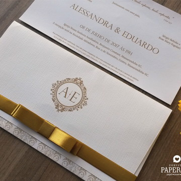 Convite de Casamento Tradicional Carteira Alessandra