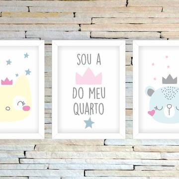 Trio de Quadrinhos Infantis Gatinho Ursa Rainha