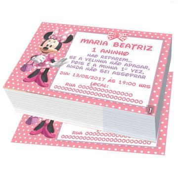 convite minnie rosa minie aniversario 2