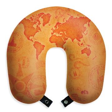 Almofada de pescoço travesseiro mapa mundi viagem descanso