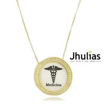 Gargantilha Medicina c/ pedras cravejadas Folheado A Ouro