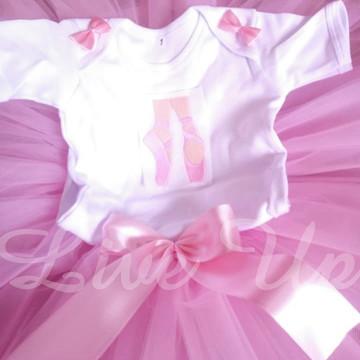 Tutu Bailarina rosa + body bordado Infantil