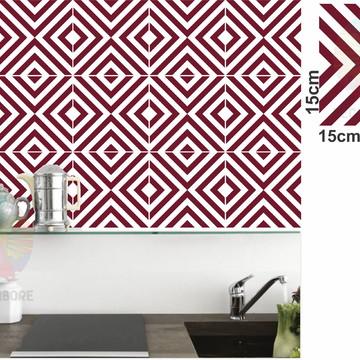 Adesivos Geométrico Bordo - decorações, azulejos...