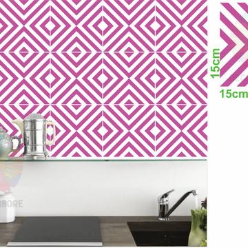 Adesivos Geométrico Rosa Carmim - decorações, azulejos...