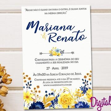 Convite Casamento Amarelo e Azul - Arte Digital