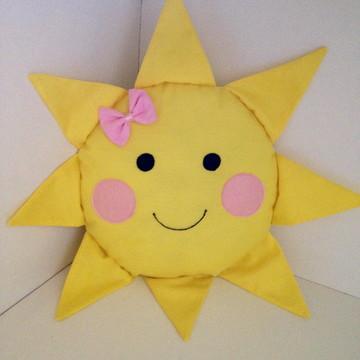 Almofada Sol com lacinho rosa