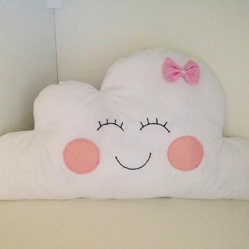 Almofada nuvem branca lacinho rosa