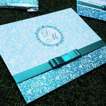 Convite 15 Anos Azul Tiffany Personalizado com fita de Cetim