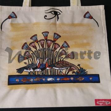 Ecobags Walkriarte - Papiro com aves e peixes