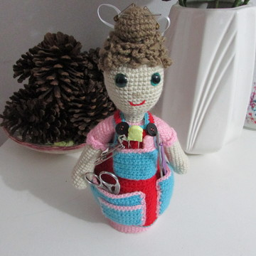 Organizador de crochê e porta alfinetes