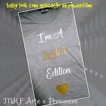 Camiseta baby look cinza frases