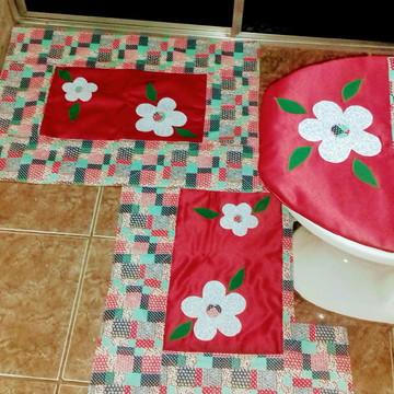 Jogo de banheiro vermelho flor.